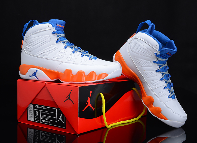 Real Air Jordan 9 White Blue Orange Latest PAnYGKC