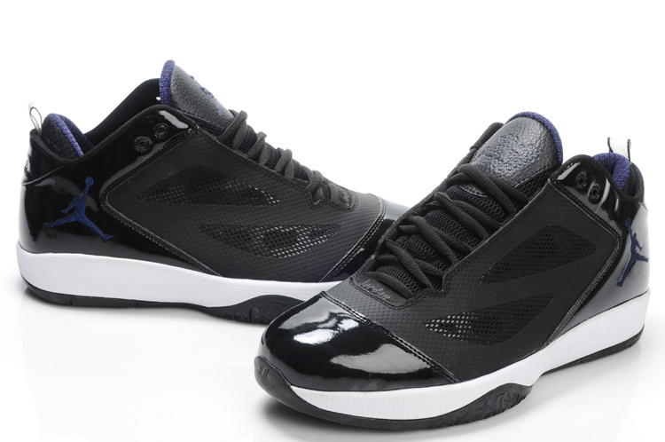 Air Jordan Quick Fuse Shoes Black White Blue Logo