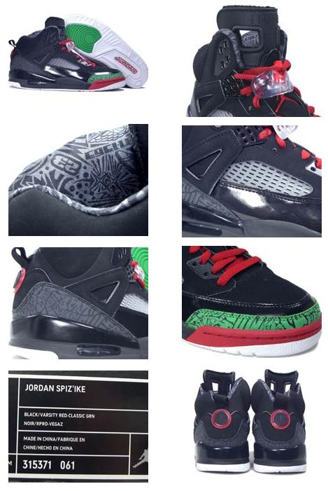 online store ccc3f 63356 Authentic Air Jordan Spizike Black Varsity Red Classic Green Shoes