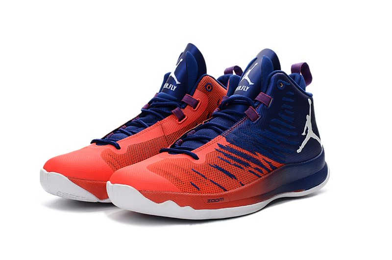 2016 Jordan Super Fly X Blue Reddish Orange White Basketball Shoes