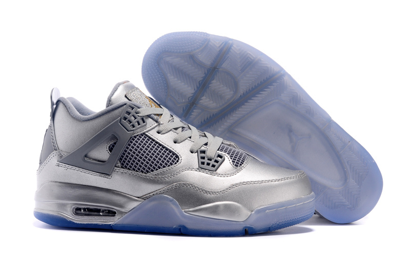 All Silver Blue Sole Air Jordan 4 Shoes