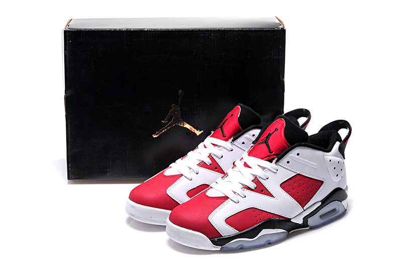 2015 Women Carmine White Black Air Jordan 6 Low Shoes