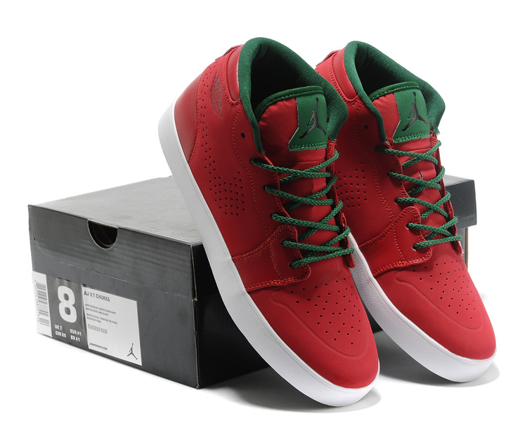 Casual Jordan 1 Red Green Shoes