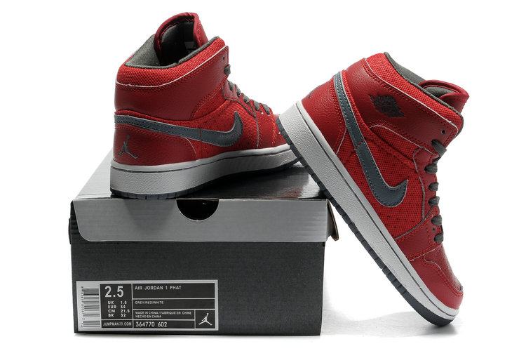 Air Jordan 1 Transparent Durable Sole All Red Grey