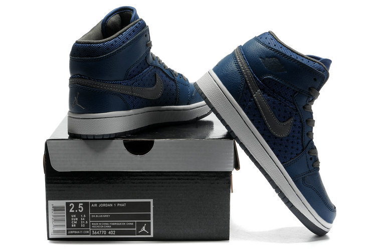Air Jordan 1 Transparent Durable Sole Deep Blue Grey