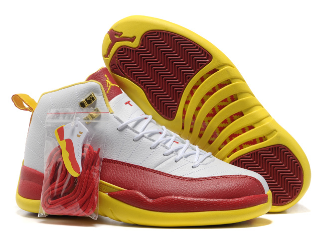 Hardcover Air Jordan 12 White Red Yellow Shoes