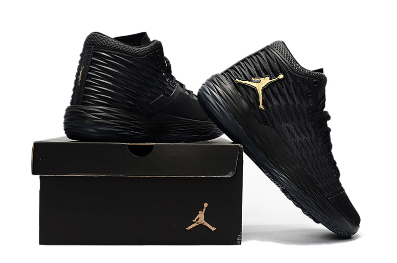 2017 Air Jordan Melo 13 All Black Yellow Jumpman Logo Shoes
