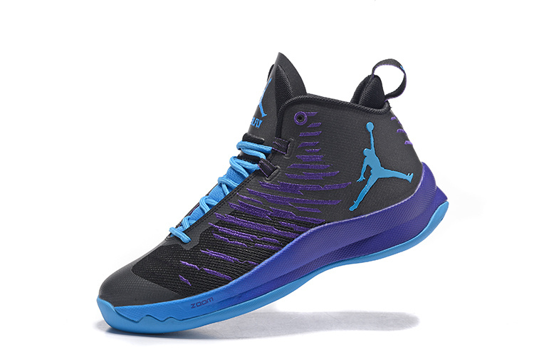 2016 Air Jordan Super Fly 5 Black Purple Shoes