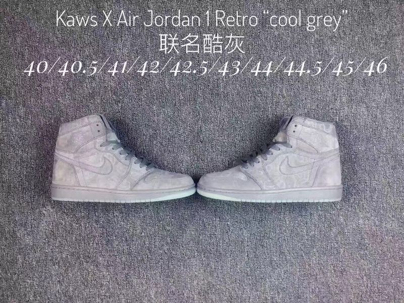 2017 KAWS x Air Jordan 1 Cool Grey