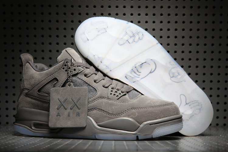 2017 KAWS x Air Jordan 4 Grey Suede Shoes