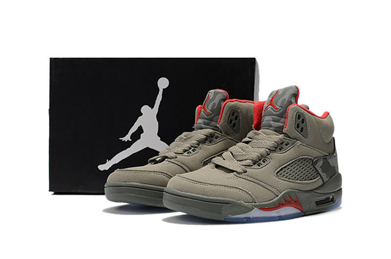 2018 Kids Jordan 5 Army Green Red Shoes