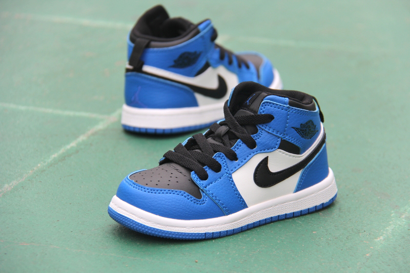 New Kid's Air Jordan 1 Retro Blue Black White Shoes