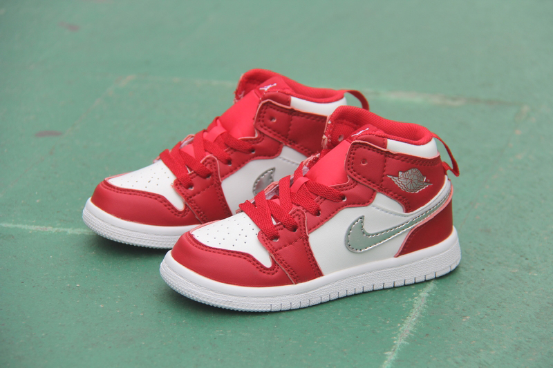 New Kid's Air Jordan 1 Retro Red White Silver Shoes