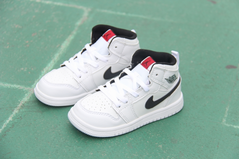 New Kid's Air Jordan 1 Retro White Black Shoes
