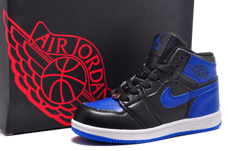 Kids Air Jordan 1 Black Blue Swoosh Shoes
