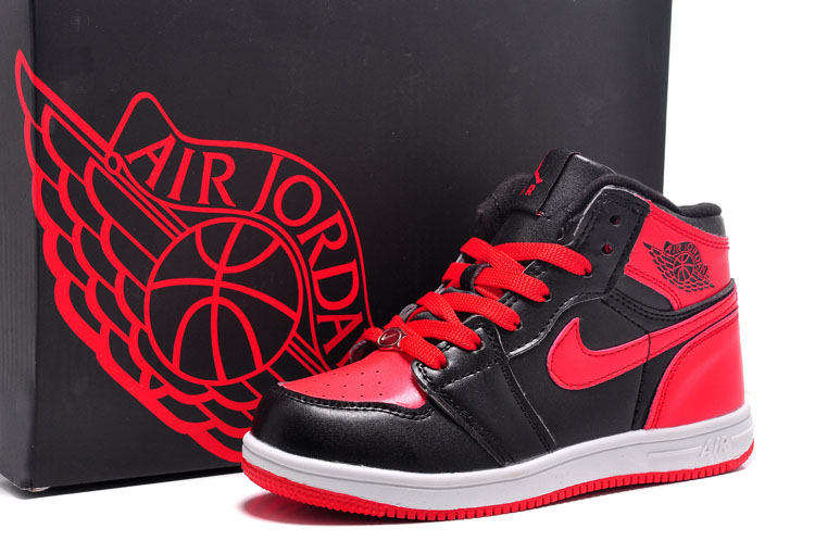 Kids Air Jordan 1 Black Red Swoosh Shoes