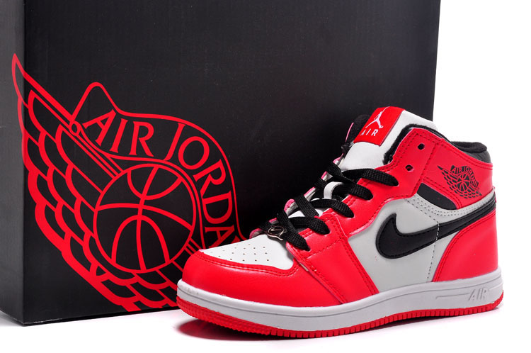 Kids Air Jordan 1 Red White Black Swoosh Shoes