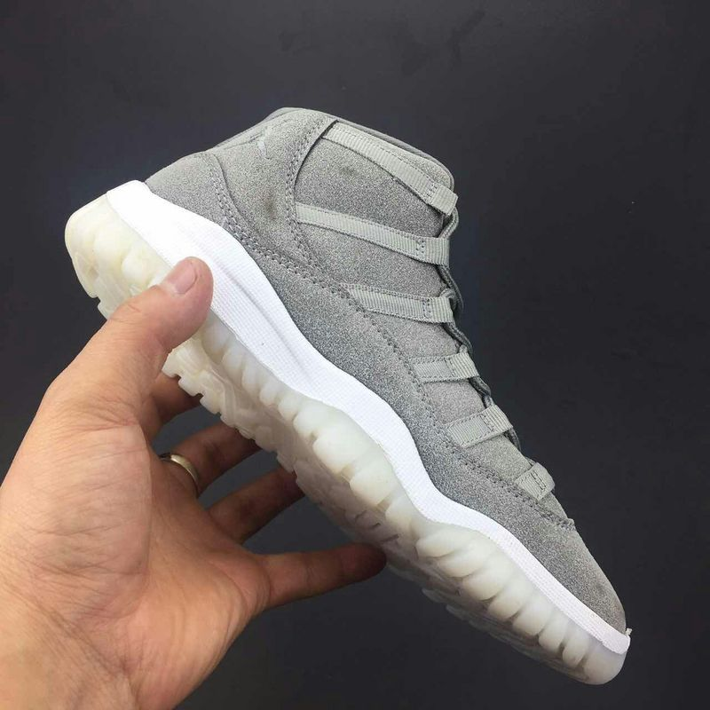 Kids 2017 Jordan 11 Grey Suede Shoes