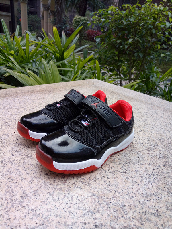 2017 Kid's Jordan 11 Low Magic Buckle Black Red White Shoes