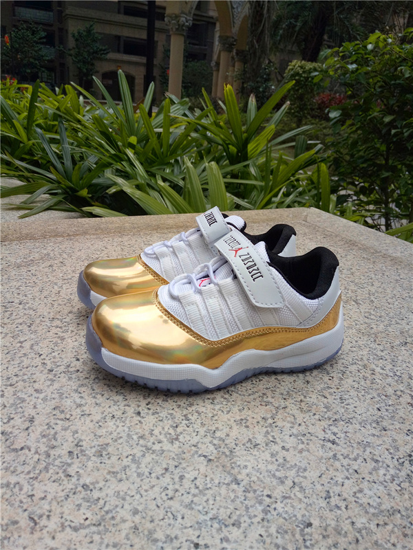 2017 Kid's Jordan 11 Low Magic Buckle White Gold Shoes