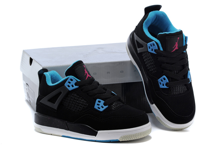 Kids Air Jordan 4 Black Blue Shoes