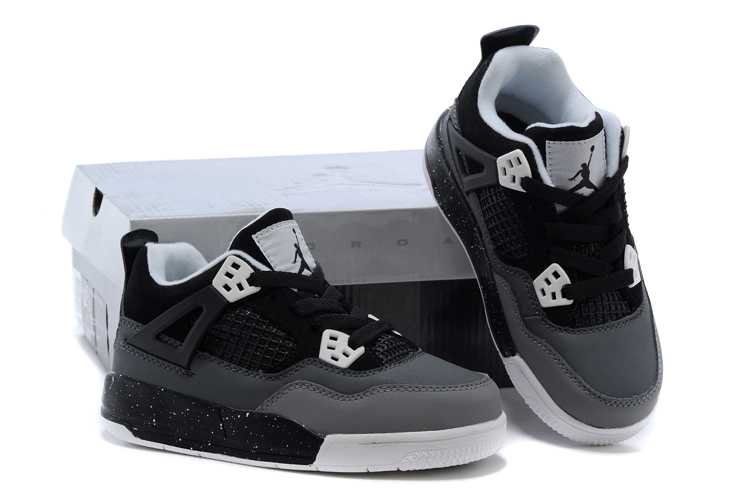 Kids Air Jordan 4 Black Grey Shoes