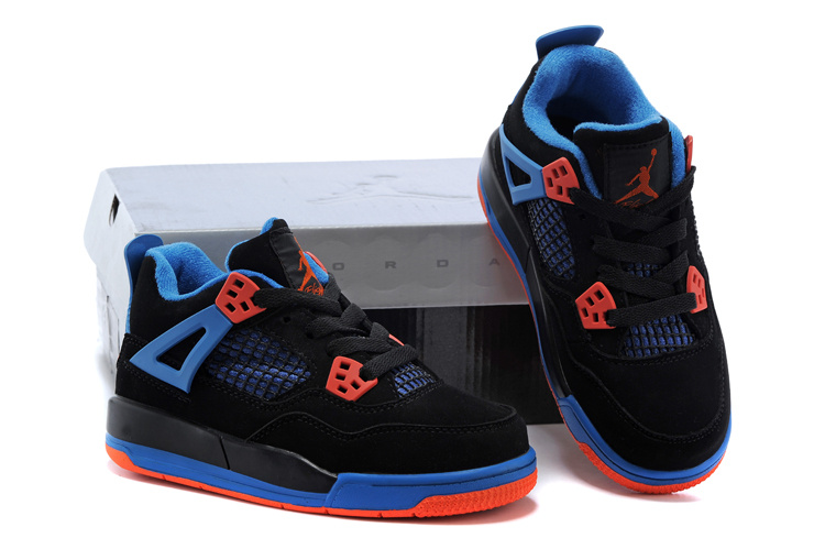 Kids Air Jordan 4 Black Red Blue Shoes