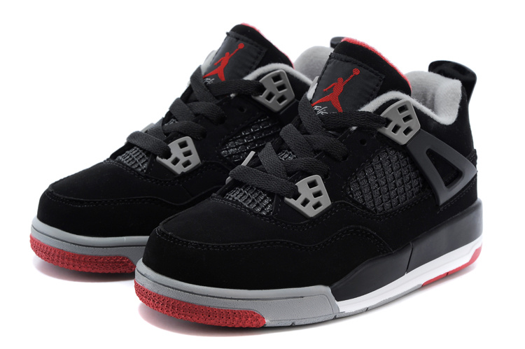 Kids Air Jordan 4 Black Red Grey Shoes