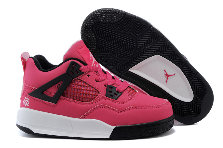 Kids Air Jordan 4 Pink Black White Shoes
