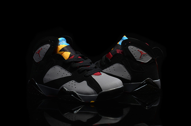 2015 Kids Air Jordan 7 Retro Black Grey Red Shoes