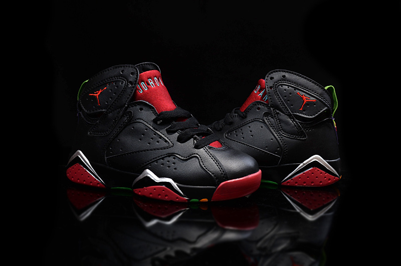 2015 Kids Air Jordan 7 Retro Black Red Shoes