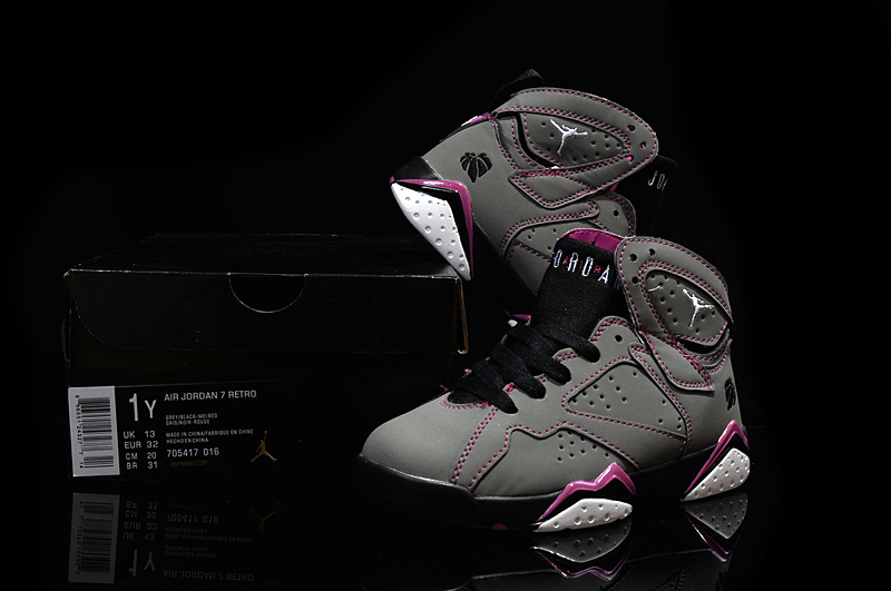2015 Kids Air Jordan 7 Retro Grey Purple Black Shoes