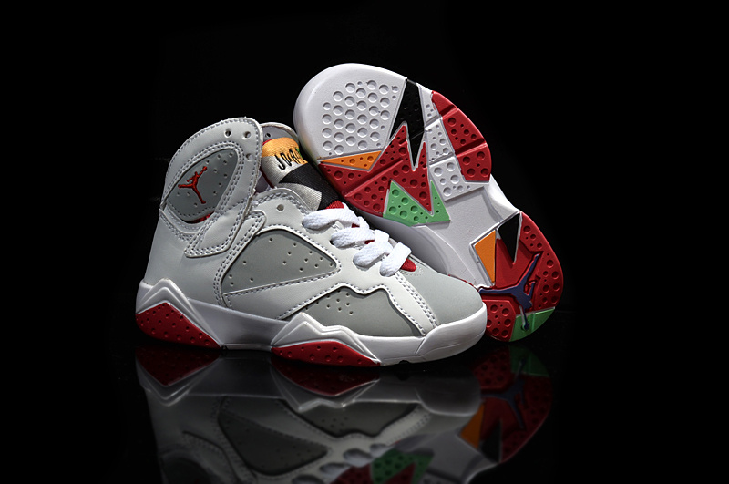 2015 Kids Air Jordan 7 Retro White Grey Red Shoes