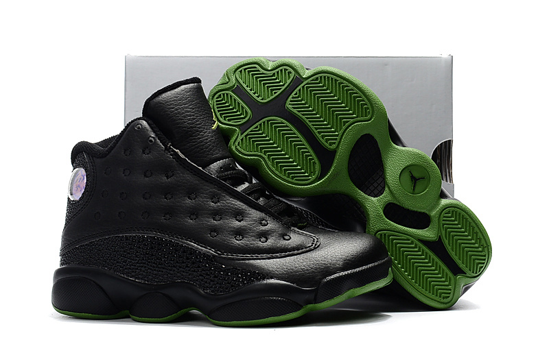 2017 Kids Air Jordan 13 Black Green Shoes