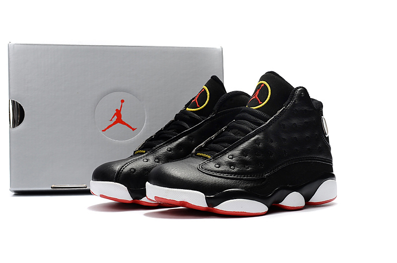 2017 Kids Air Jordan 13 Black Red White Shoes