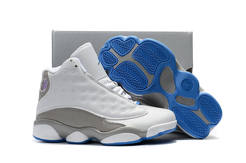 2017 Kids Air Jordan 13 White Grey Blue Shoes