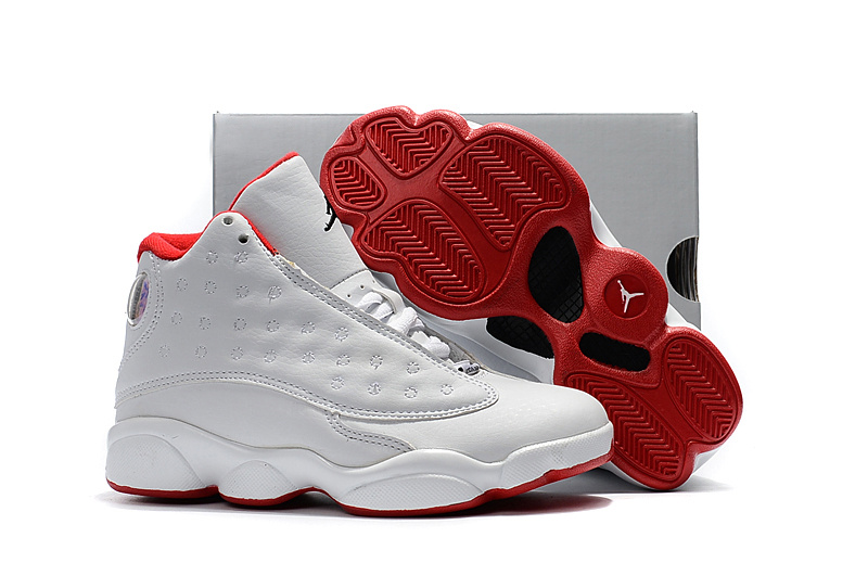 2017 Kids Air Jordan 13 White Grey Red Shoes