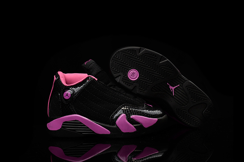 2016 Kids Air Jordan 14 Retro Black Pink Shoes