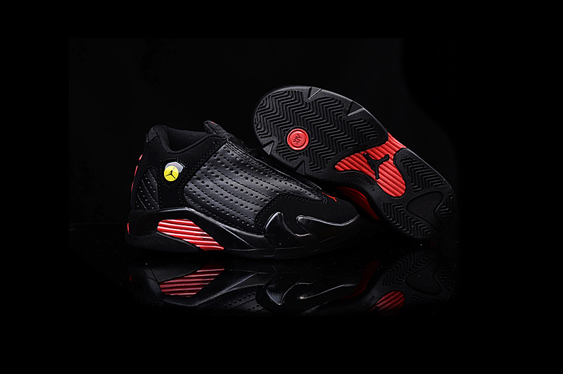 2016 Kids Air Jordan 14 Retro Final Shot Black Red Shoes