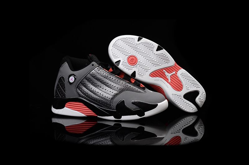 2016 Kids Air Jordan 14 Retro Grey Black Red Shoes