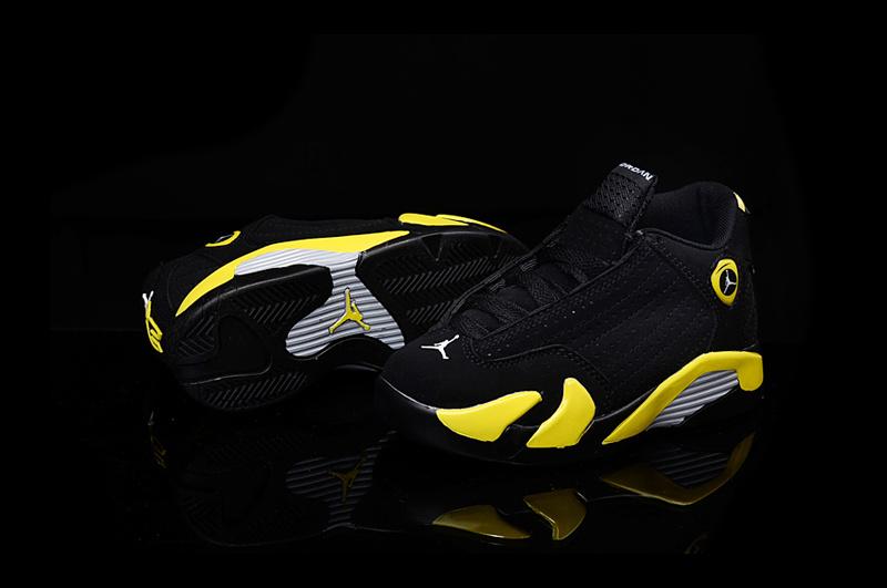 2016 Kids Air Jordan 14 Retro Thunder Black Yellow Shoes