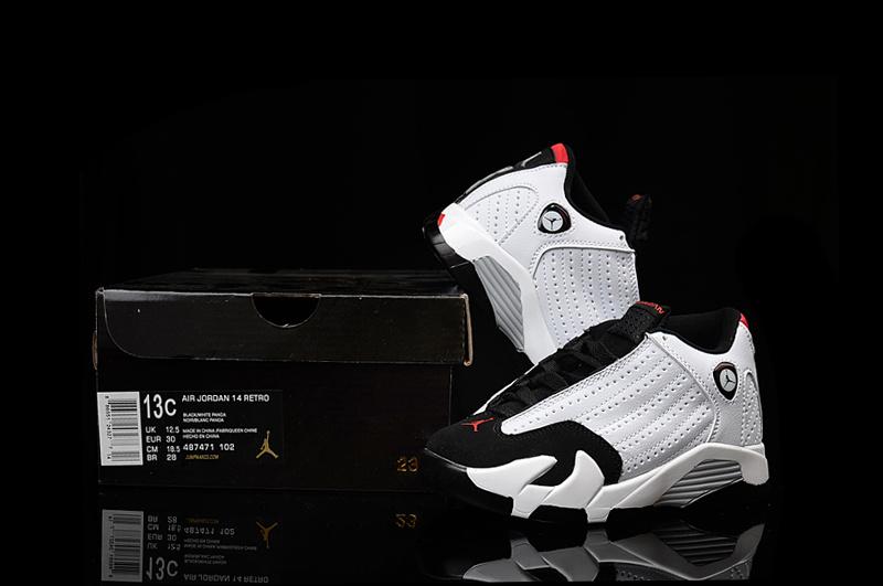 2016 Kids Air Jordan 14 Retro White Black Red Shoes