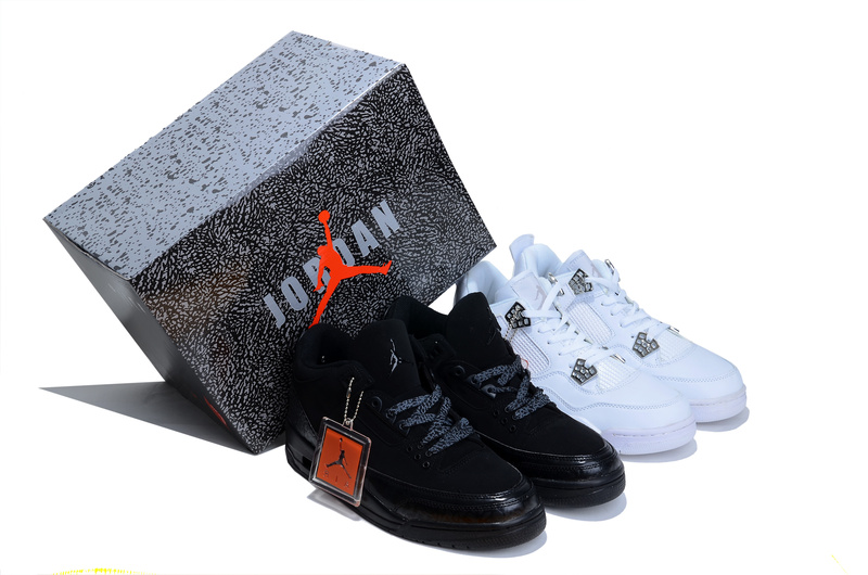 Limited Combine Black Air Jordan 3 And White Jordan 4 Shoes