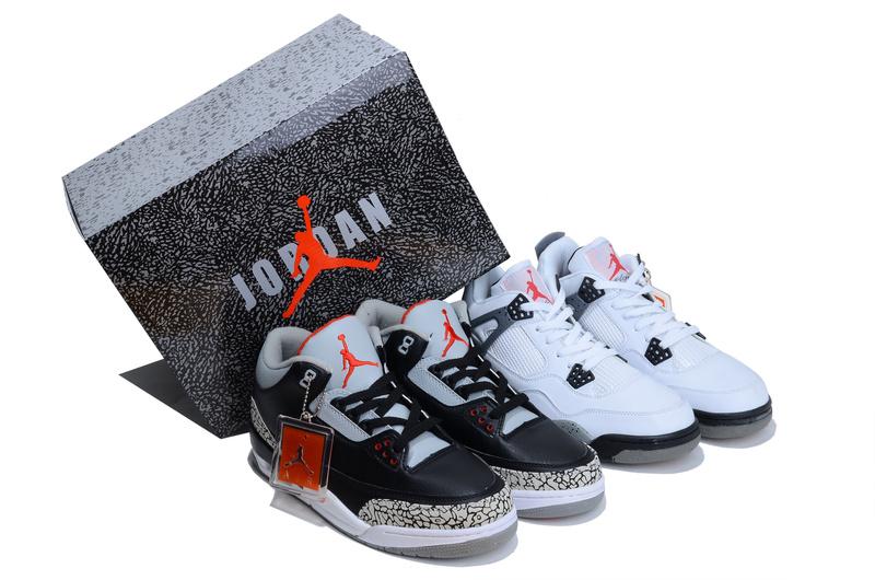 Limited Combine Black Grey Air Jordan 3 And White Grey Jordan 4 Shoes