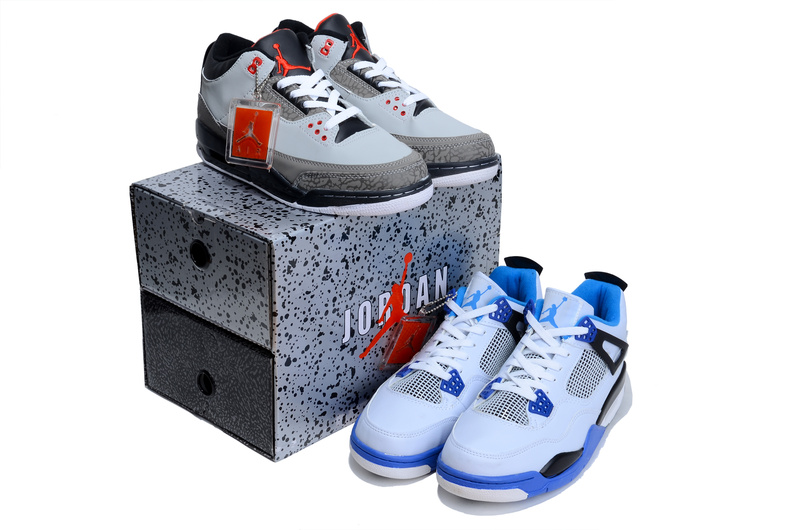 Limited Combine Grey Black Air Jordan 3 And White Blue Jordan 4 Shoes