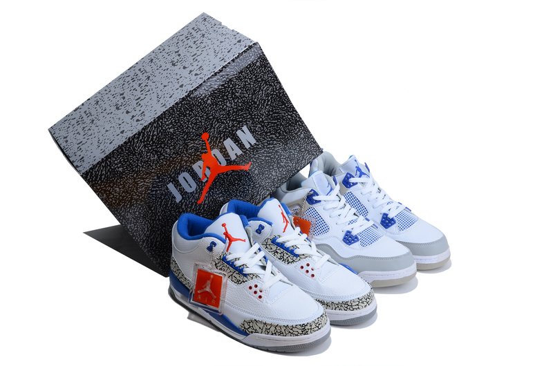 Limited Combine White Blue Air Jordan 3&4 Shoes