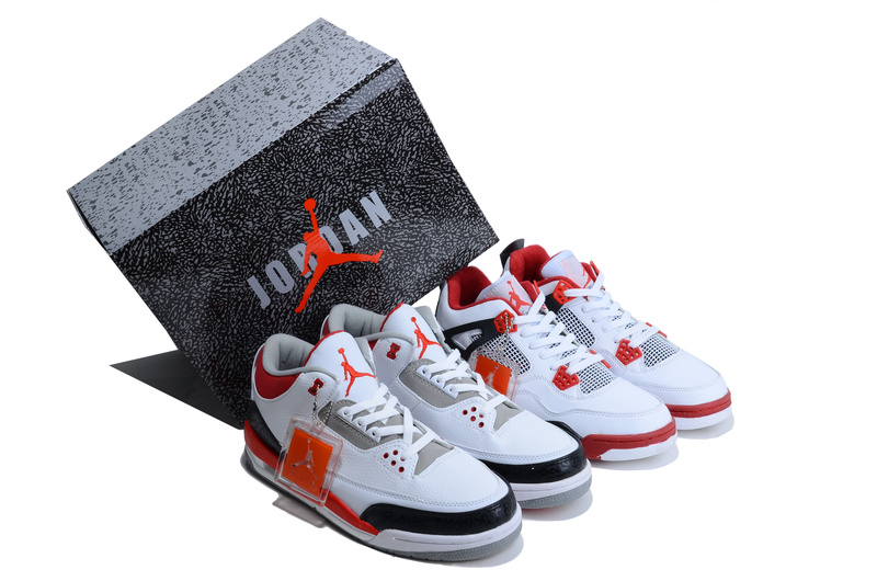 Limited Combine White Red Air Jordan 3&4 Shoes