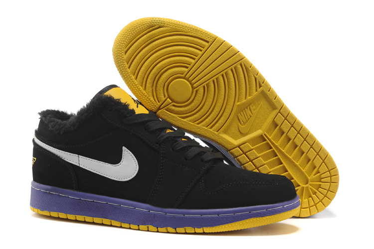 Low Air Jordan 1 Wool Black Blue Yellow Shoes