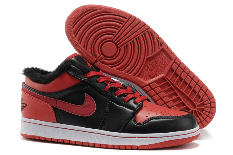 Low Air Jordan 1 Wool Black Red White Shoes