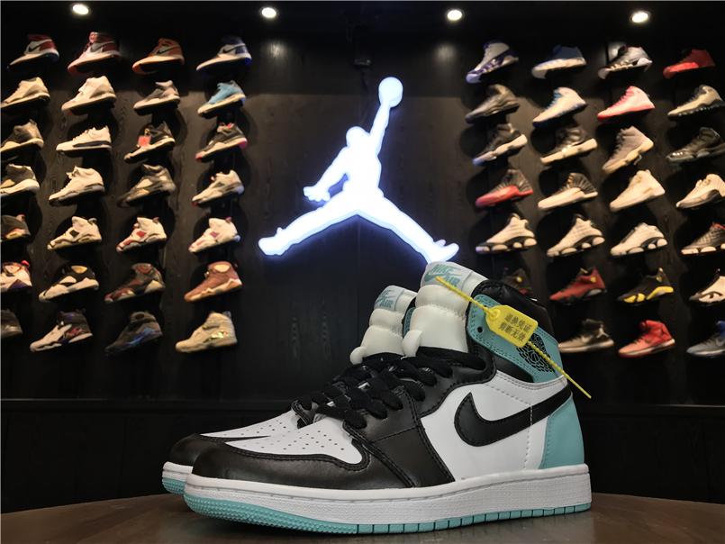 2018 Air Jordan 1 GS Gint Green Black Shoes